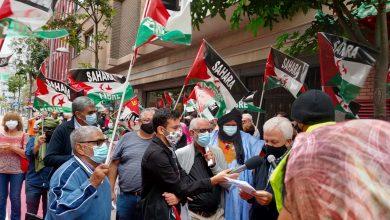 Photo of الجالية الصحراوية بجزر الكناري تتظاهر أمام قنصلية الإحتلال المغربي